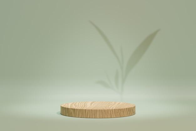 Productstandaard voor cosmetische weergave. houten cilinderpodium op pastelgroene theeachtergrond met groene theebladschaduw. 3d-rendering illustratie