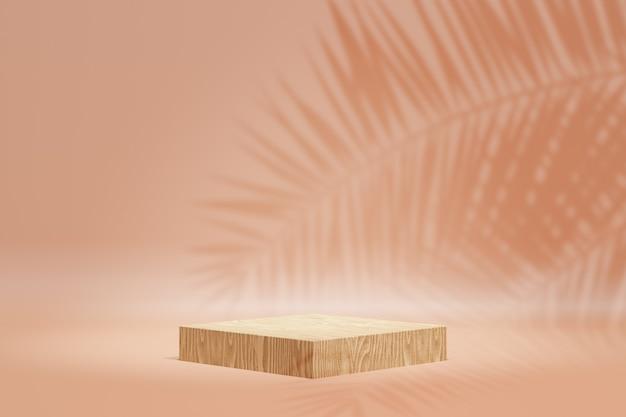 Productstandaard voor cosmetische weergave. houtsnedepodium op pasteloranje achtergrond met palmbladschaduw. 3d-rendering illustratie