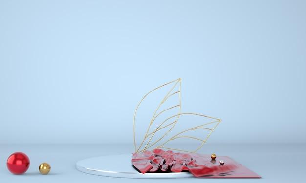 Productvertoning podium versierd met bladeren op pastel achtergrond, 3d illustratie