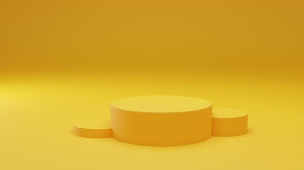 Productvoetstuk, gele cilindervorm op gele achtergrond. 3d-weergave