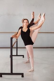 Professionele ballerina's repeteren terwijl ze maillots dragen