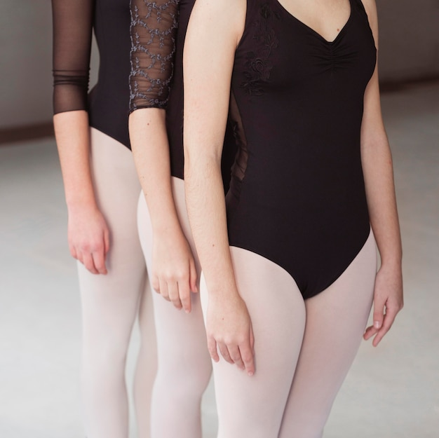 Professionele balletdansers trainen samen in maillots