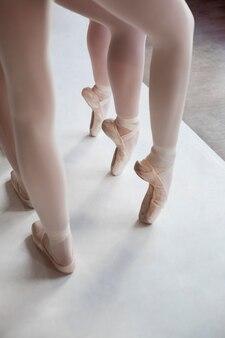 Professionele balletdansers trainen samen terwijl ze spitzen dragen
