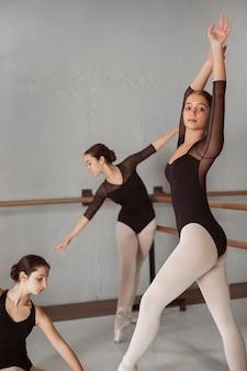 Professionele balletdansers trainen samen