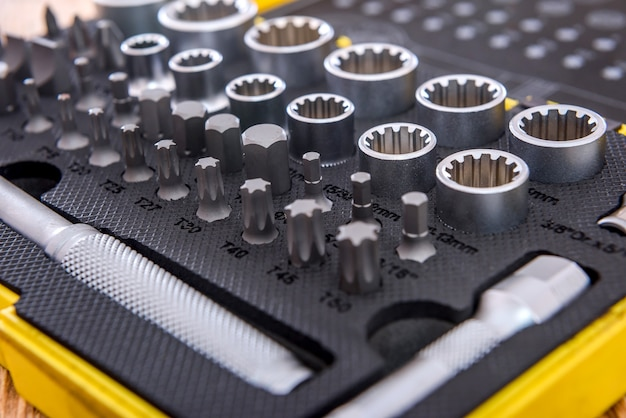 Professionele mechanische gereedschapsset voor het geval close-up