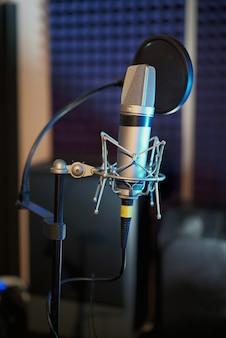 Professionele microfoon in de opnamestudio.