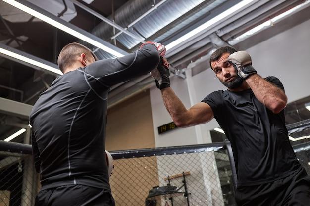 Professionele mma-vechter die de beste trucs toont aan nieuwe vechter, lesgeeft, samen traint, betrokken is bij training, masterclass door professionele mma-worstelaar. zijaanzicht van beneden