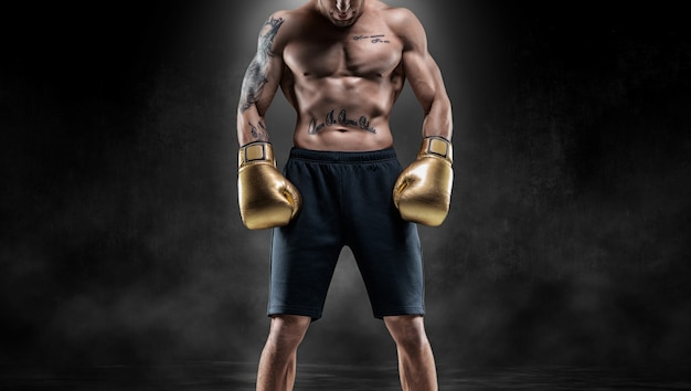 Professionele thaise bokser staat in volledige gevechtsuitrusting. muay thai, kickboksen, vechtsportconcept. gemengde media