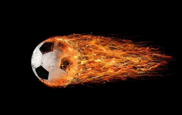 Professionele voetbalvuurbal laat vlammensporen achter