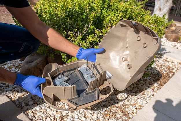 Professionele voorbereidingsval voor ratten, muizen, voor ongediertebestrijding in een speciale zwarte doos om het gif in te plaatsen.