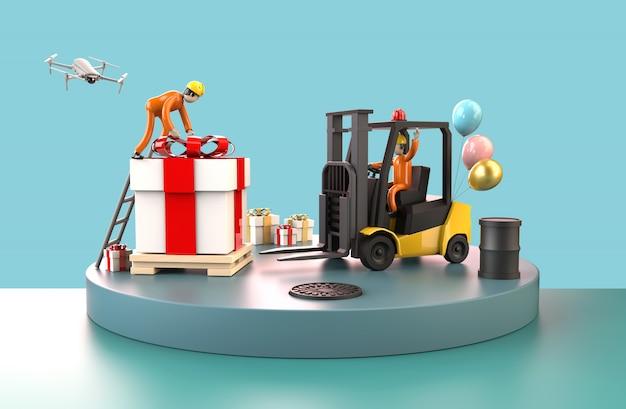Professionele werknemers die transport vervoeren, verplaatsen een grote geschenkdoos in het magazijn