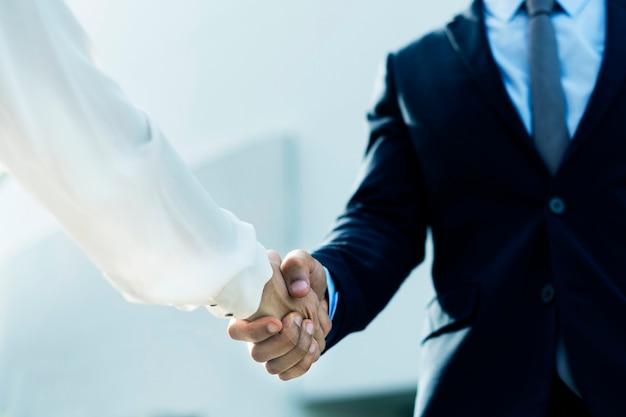 Professionele zakelijke zakenmensen die handen schudden