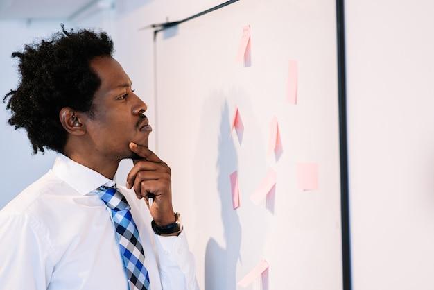 Professionele zakenman die kleverige nota's op whiteboard gebruikt en ideeën voor bedrijfsstrategieplan denkt. bedrijfsconcept.