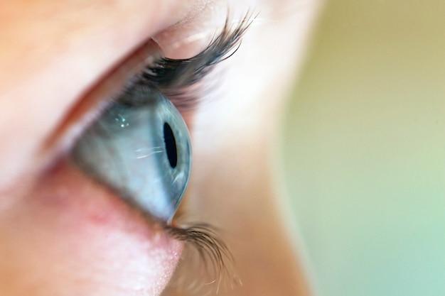 Profiel van het blauwe oog van een vrouw