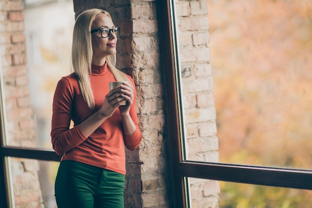 Profiel zijfoto van vreedzame vrouw werknemer rust ontspannen houden mok met hete latte look raam droomweekends draag rode coltrui in bedrijf kantoor loft