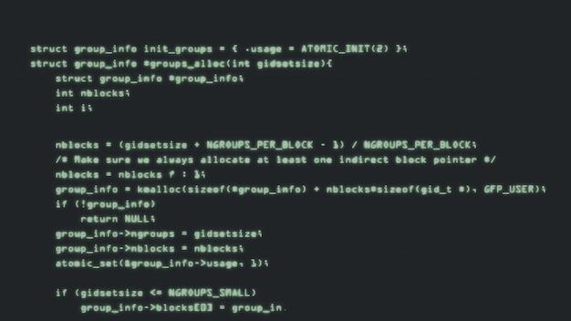 Programmeercode loopt langs een computerschermterminal