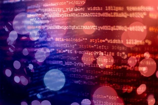 Programmeercode voor ontwikkelaars. abstracte computerscriptcode. programmeercodescherm van softwareontwikkelaar. software programmering werktijd.