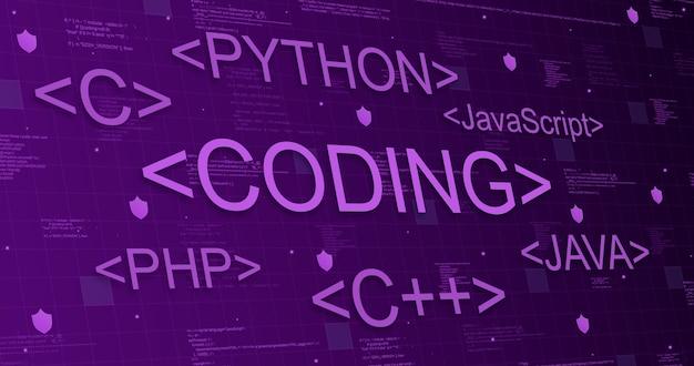Programmeertalen op technische paarse achtergrond met code-elementen en lichtlijnen