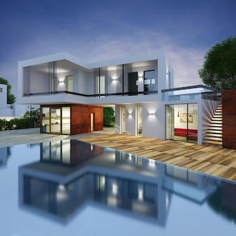 Project van een luxe villa in 3d