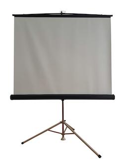Projectie leeg statief scherm op een afgelegen witte achtergrond. er is plaats voor een inscriptie, reclame