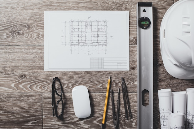 Projecttekeningen en hulpmiddelen, close-up