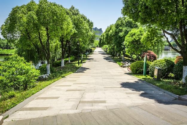 Promenade in een prachtig stadspark