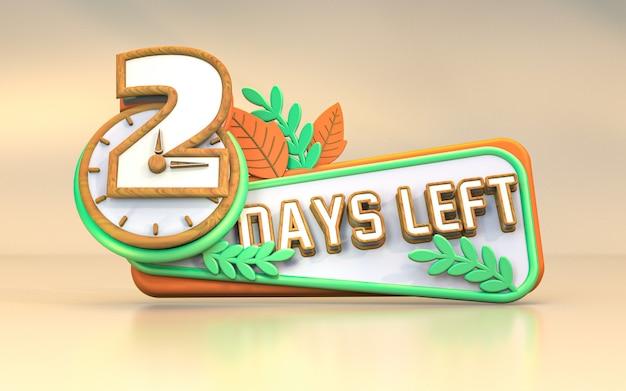 Promotionele 3d-rendering aantal dagen links teken symbool ontwerp