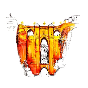 Puente nuevo of nieuwe brug over de tajo-kloof in ronda, andalusië, spanje