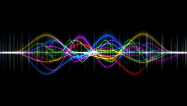 Pulse musical. abstract van geluidsgolf, lichtfrequenties of heldere equalizer