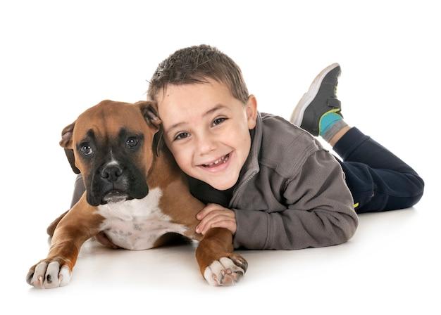 Puppy bokser en jongen