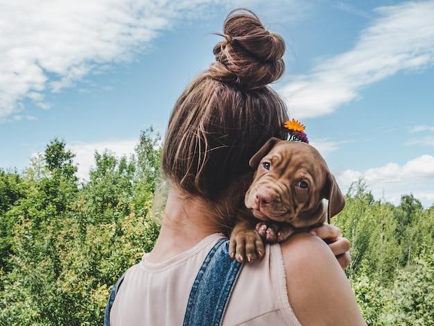 Puppy, liggend op de schouder van een vrouw