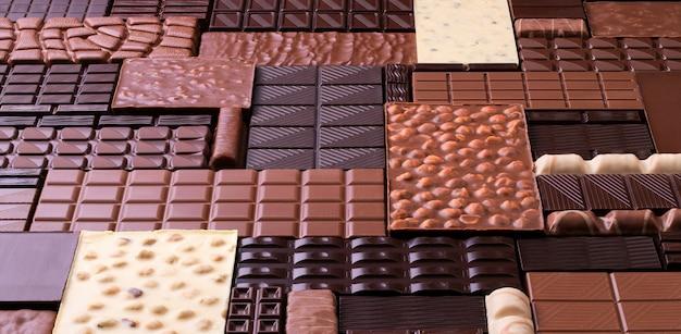 Pure en melkchocolade met noten, diverse zoete reep.