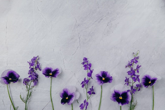 Purpere bloemen op een marmeren achtergrond