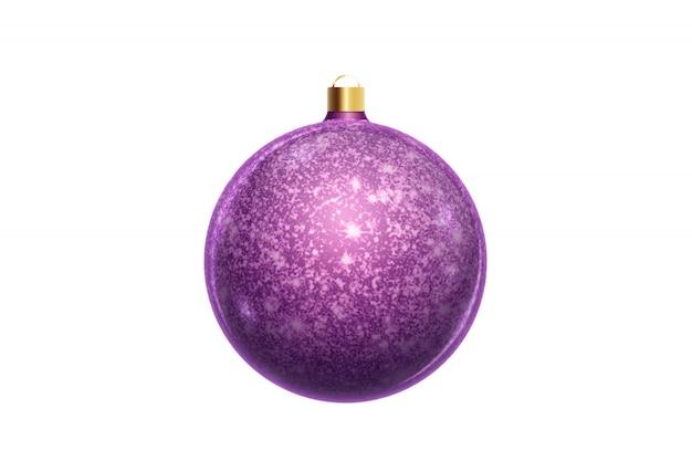 Purpere kerstmisbal die op witte achtergrond wordt geïsoleerd. kerstversiering, ornamenten op de kerstboom.