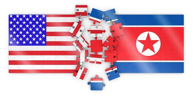 Puzzel met de afbeelding van de vlag van noord-korea en de verenigde staten