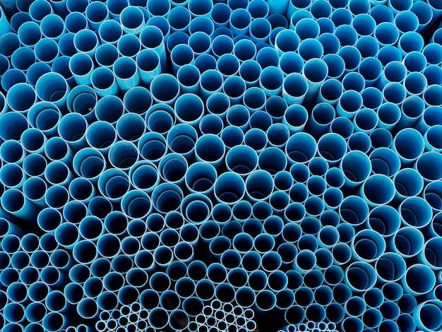 Pvc-pijpen blauwe kleurenachtergrond en geweven