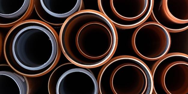 Pvc waterleidingen close-up, bovenaanzicht.