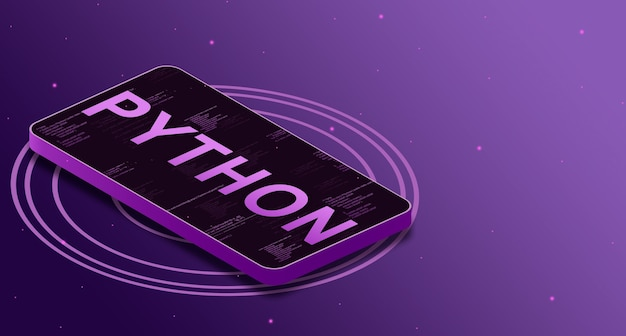 Python-programmeertaal op het telefoonscherm met code-elementen, digitale taal 3d
