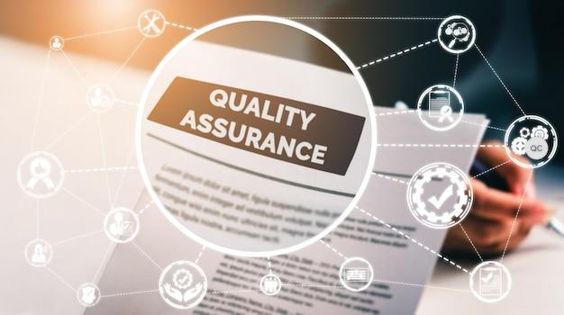 Qa concept voor kwaliteitsgarantie en kwaliteitscontrole.