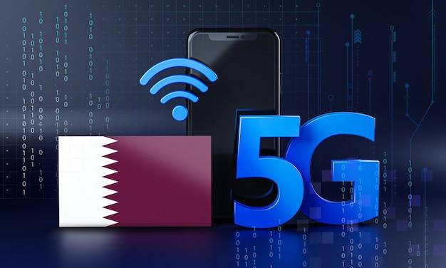 Qatar klaar voor 5g-verbindingsconcept. 3d-rendering smartphone technische achtergrond