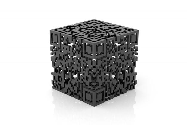 Qr-code ontwerp in 3d-rendering
