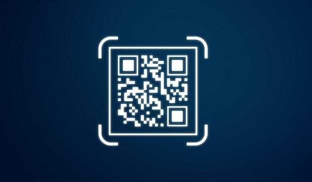 Qr codepictogram, op blauwe achtergrond
