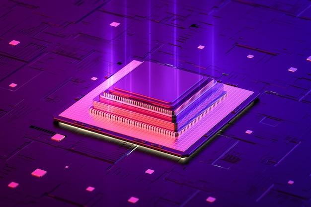 Quantum computertechnologieconcept met 3d-rendering cpu-chips aan boord