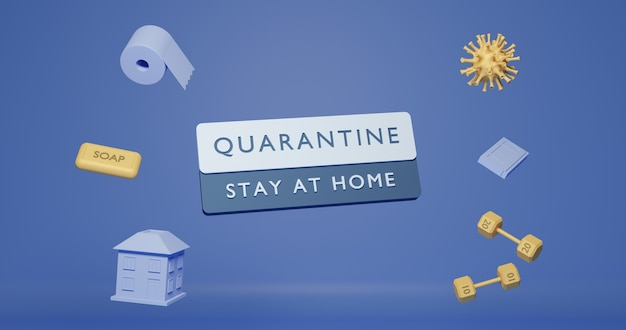 Quarantaine 6k poster 3d-gerenderde posterontwerp