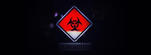 Quarantaine. quarantainewaarschuwingsbord op een glazen deur in een ziekenhuisisolator. isolatie van patiënten met het virus in speciale laboratoria. virus.