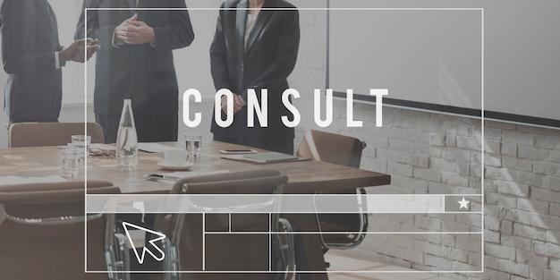 Raadpleeg advies informatie service sharing concept