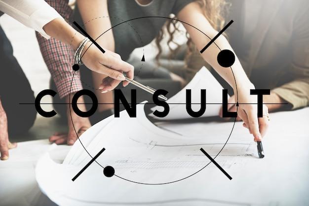 Raadpleeg vraag service sharing informatie concept