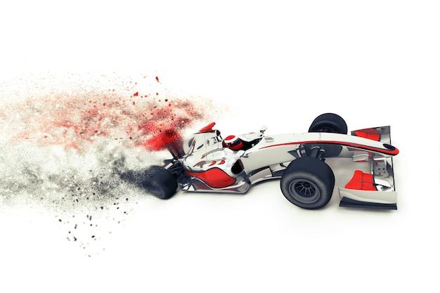 Race auto met terugslag