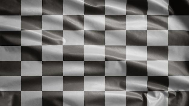 Racing vlag wappert in de wind. autorace of autosport, snelheidswedstrijd voor motorfietsen