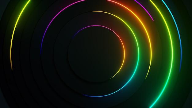 Radiale abstracte neon achtergrond. laserneonlijnen bewegen in een cirkel langs een cirkelvormige donkere geometrie.
